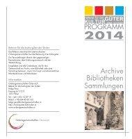 Archive Bibliotheken Sammlungen PROGRAMM
