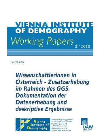 Wissenschaftlerinnen in Österreich - Österreichische Akademie der ...