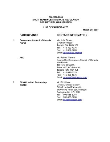 List of Participants - Ontario Energy Board