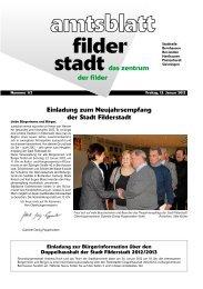Einladung zum Neujahrsempfang der Stadt Filderstadt