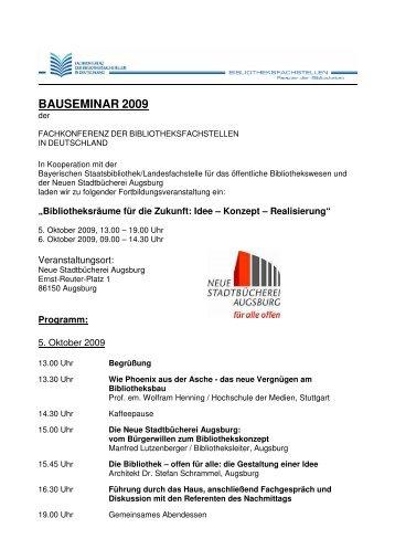 Programm Bauseminar Augsburg 2009 - Landesfachstelle für das ...