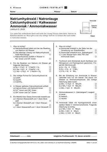 Natronlauge, Calciumhydroxid/ Kalkwasser, Ammoniak