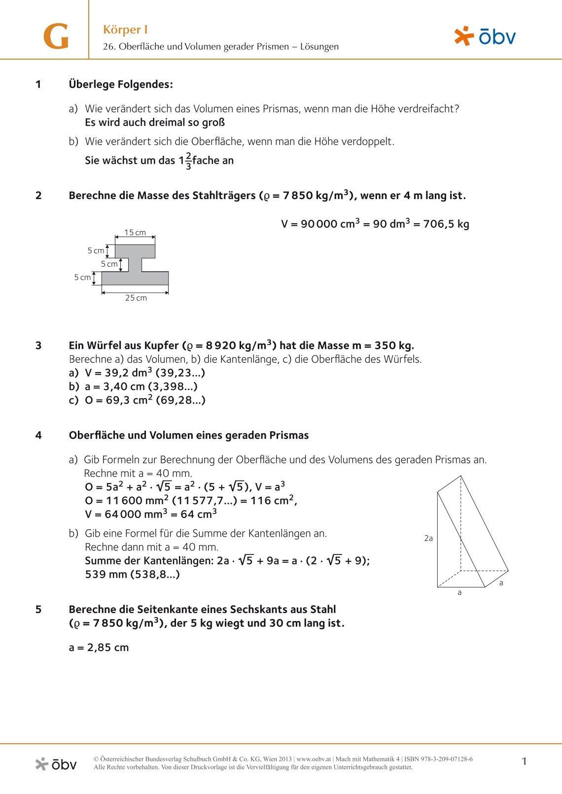 Nett Volumen Von Rechteckigen Prismen Arbeitsblatt Textaufgaben ...