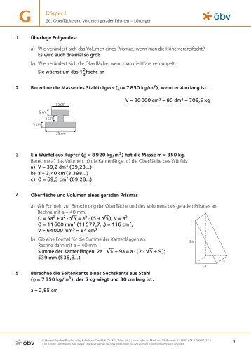 Bestimmung der Berechnungsformel von Prismen
