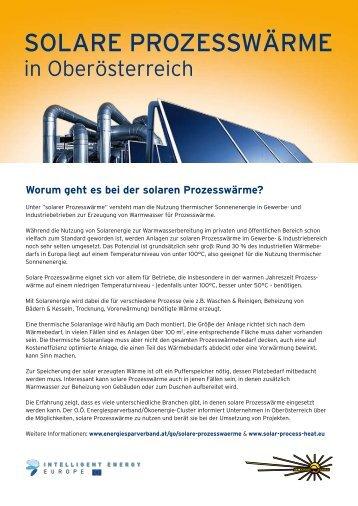 Solare Prozesswärme in Oberösterreich - OÖ Energiesparverband