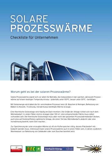 SOLARE ProzeSSwärme - Ökoenergie Cluster