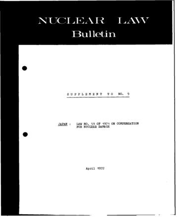 Nuclear Law Bulletin No. 9 Supplement - OECD Nuclear Energy ...