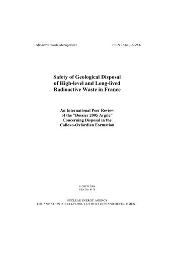 Safety of Geological Disposal of High-level and Long-lived ...