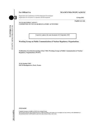 NEA/SEN/NRA/WGPC/A(2013) - OECD Nuclear Energy Agency