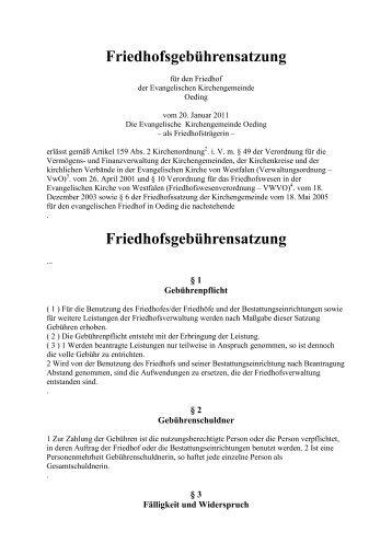 Gebührensatzung - Ev. Kirchengemeinde Oeding-Vreden-Stadtlohn