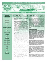 Farm Policy Matters: Federal Farm Bill and Food Safety Updates