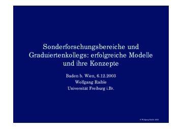 Sonderforschungsbereiche und Graduiertenkollegs: erfolgreiche ...