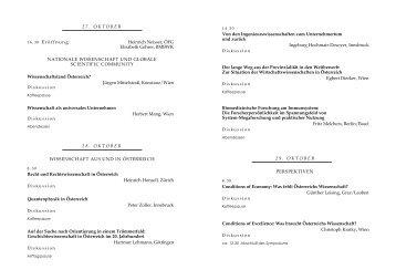 Programm Wissenschaft in Österreich - Bilanzen und Perspektiven