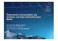 Österreichs Universitäten als Anbieter auf dem internationalen Markt