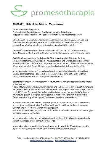ABSTRACT – State of the Art in der Mesotherapie - Österreichische ...