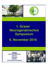 1. Grazer Neurogeriatrisches Symposium 6. November 2010
