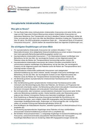 Unrupturierte intrakranielle Aneurysmen - Österreichische ...