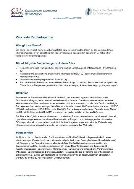 Zervikale Radikulopathie - Österreichische Gesellschaft für Neurologie