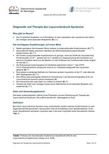 Diagnostik und Therapie des Liquorunterdruck-Syndroms