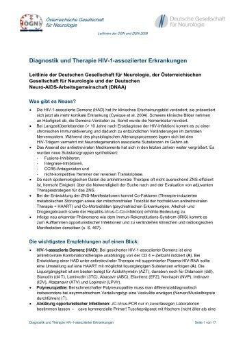 Diagnostik und Therapie HIV-1-assoziierter Erkrankungen