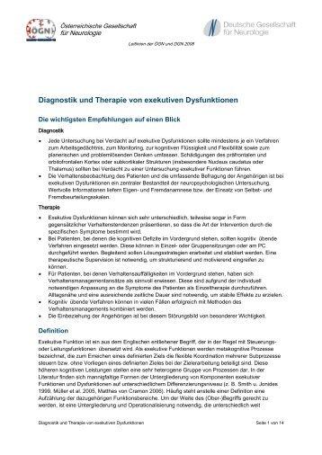 Diagnostik und Therapie von exekutiven Dysfunktionen