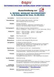 Ausschreibung zur - Österreichischer Gehörlosen Sportverband