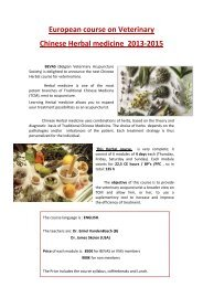 European course on Veterinary Chinese Herbal medicine 2013-2015