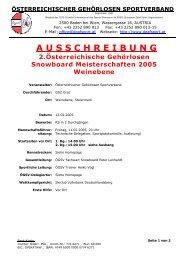 AUSSCHREIBUNG - Österreichischer Gehörlosen Sportverband