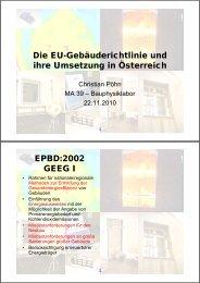 Die EU-Gebäuderichtlinie und ihre Umsetzung in Österreich EPBD ...