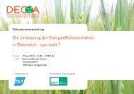 Die Umsetzung der Energieeffizienzrichtlinie in Österreich - quo vadis