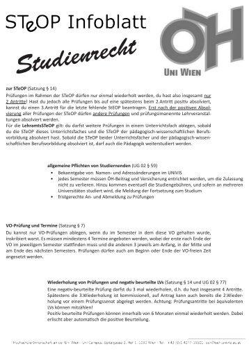 Download Infoblatt StEOP und Studienrecht - ÖH Uni Wien