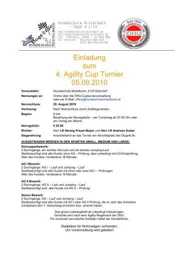 Einladung zum 4. Agility Cup Turnier 05.09.2010 - ÖHU
