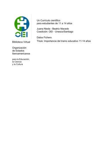 Un Currículo científico para estudiantes de 11 a 14 años ... - OEI