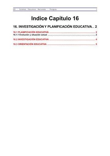 16. Investigación y Planificación Educativa - OEI