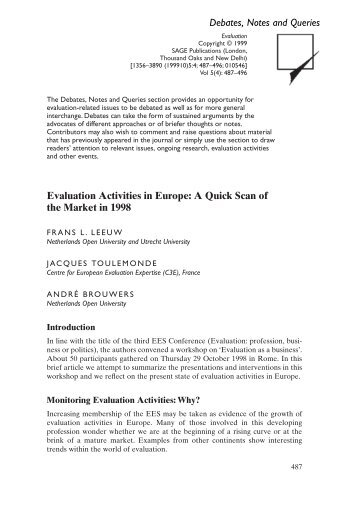 Evaluation Activities in Europe: A Quick Scan of the Market in ... - OEI