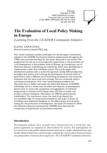 The Evaluation of Local Policy Making in Europe - OEI
