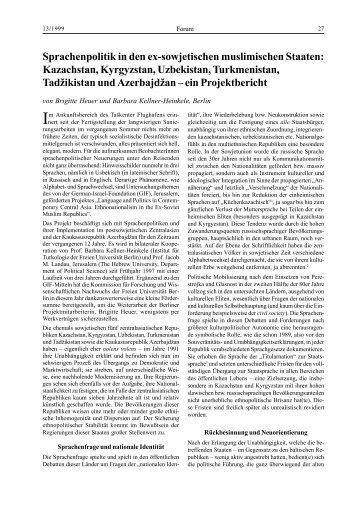 Sprachenpolitik in den ex-sowjetischen - Osteuropa-Institut