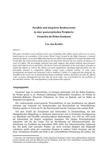 Parallele und integrierte Rechtssysteme in einer postsowjetischen ...