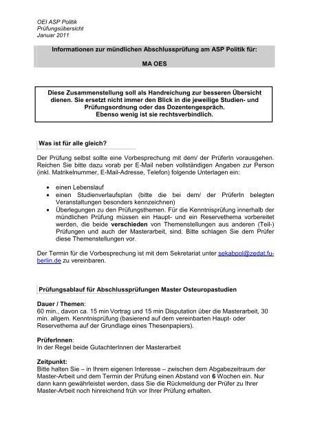 Infomationsblatt mündliche Prüfung