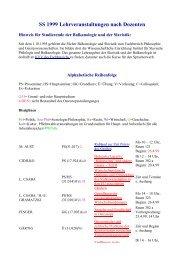 SS 1999 Lehrveranstaltungen nach Dozenten - Osteuropa-Institut