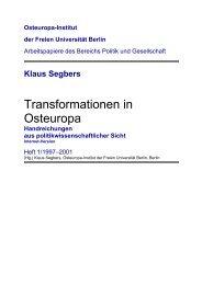 Transformationen in Osteuropa - Osteuropa-Institut