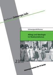 Berliner Osteuropa Info - Osteuropa-Institut