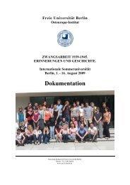 16. August 2009 Dokumentation - Osteuropa-Institut - Freie ...