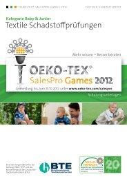Textile Schadstoffprüfungen - Oeko-Tex