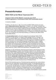 OETS Texprocess STePLaunch Sustainability Award ... - Oeko-Tex