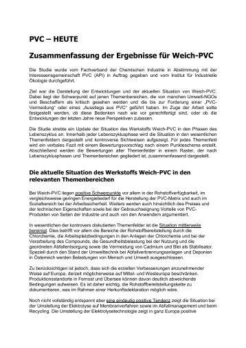 PVC œ HEUTE Zusammenfassung der Ergebnisse für Weich-PVC