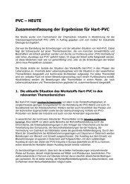 PVC œ HEUTE Zusammenfassung der Ergebnisse für Hart-PVC