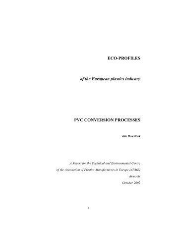Eco-Profile: PVC CONVERSION PROCESSES - October 2002