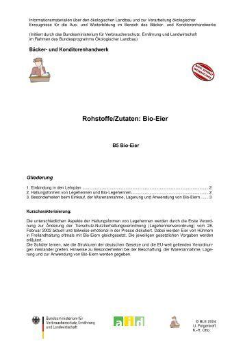 Rohstoffe/Zutaten: Bio-Eier - Oekolandbau.de