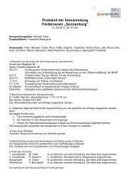 Protokoll der Versammlung Förderverein